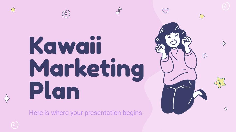 Modelo de apresentação Plano de marketing kawaii
