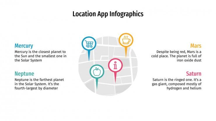 Plantilla de presentación Infografías para app de geolocalización