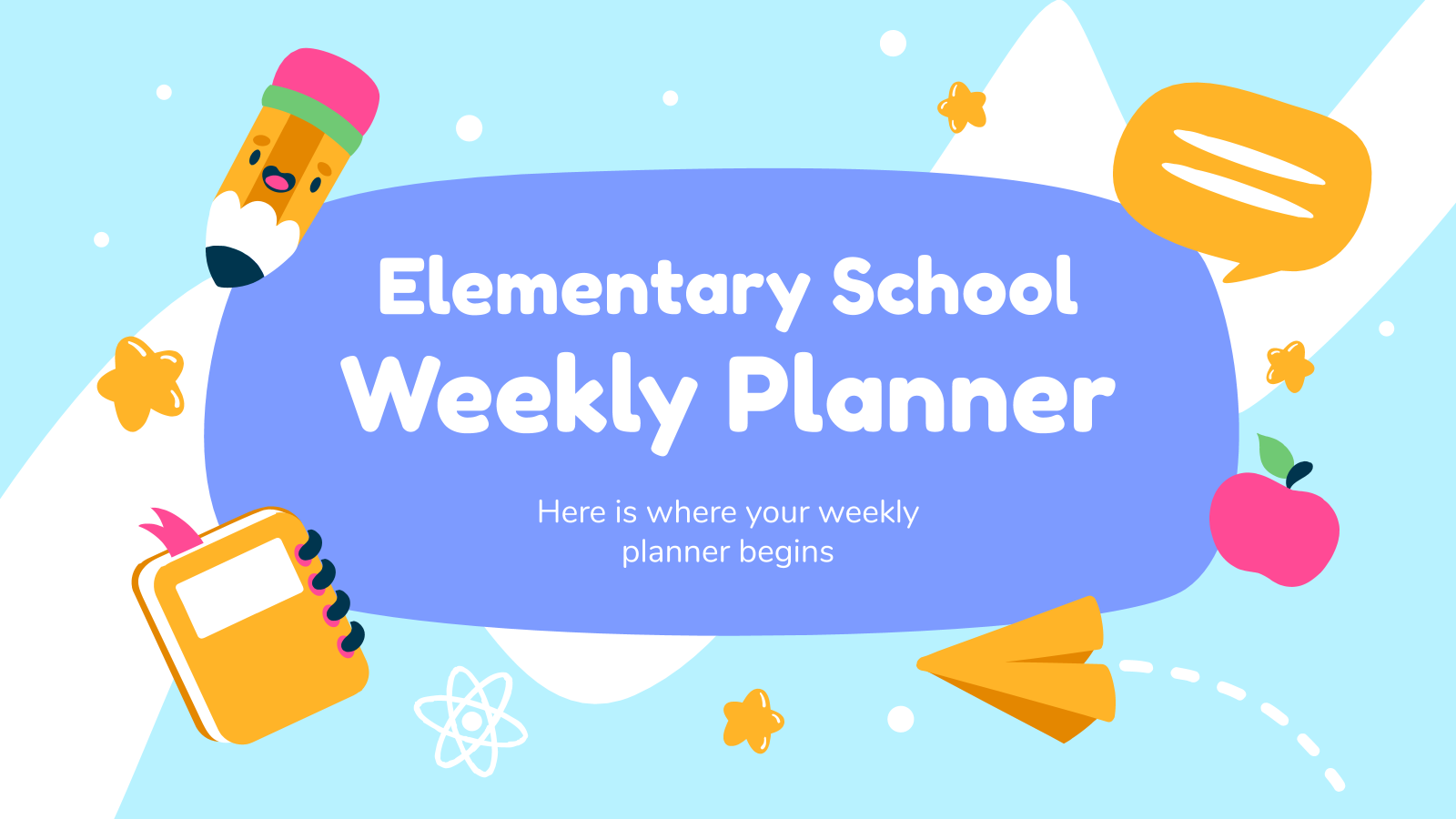 Elementary School Weekly Planner presentation template
