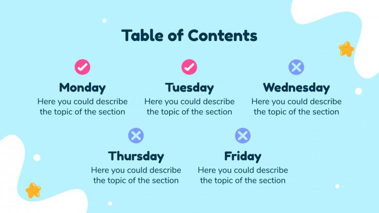 Modelo de apresentação Agenda semanal do ensino fundamental
