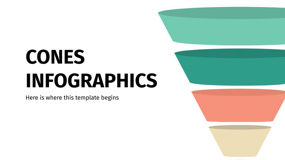 Modelo de apresentação Infográficos de cones
