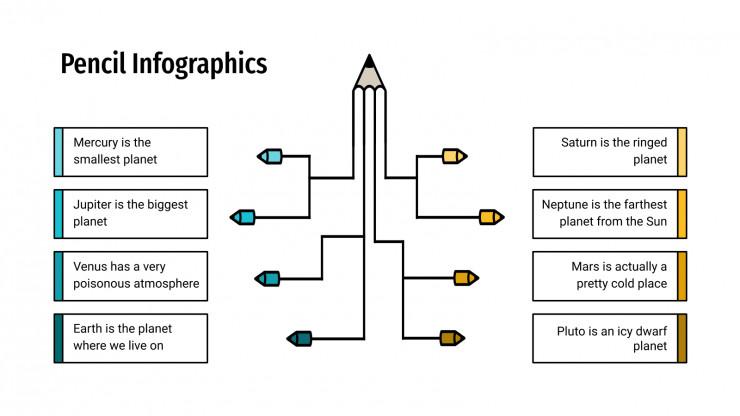 Modelo de apresentação Infográficos de lápis