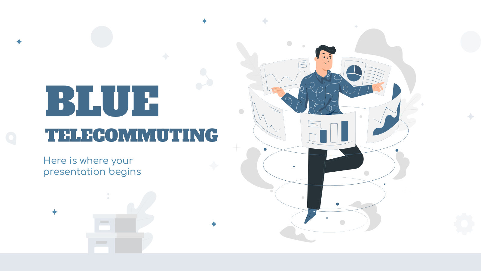 Blue Telecommuting presentation template