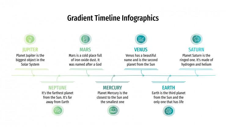 Modelo de apresentação Infográficos de linhas do tempo em degradê