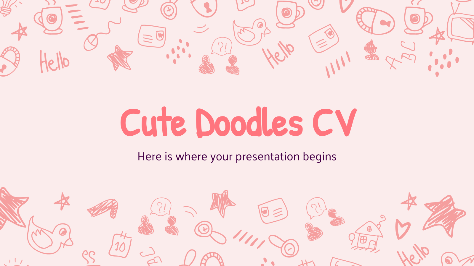 Cute Doodles CV presentation template
