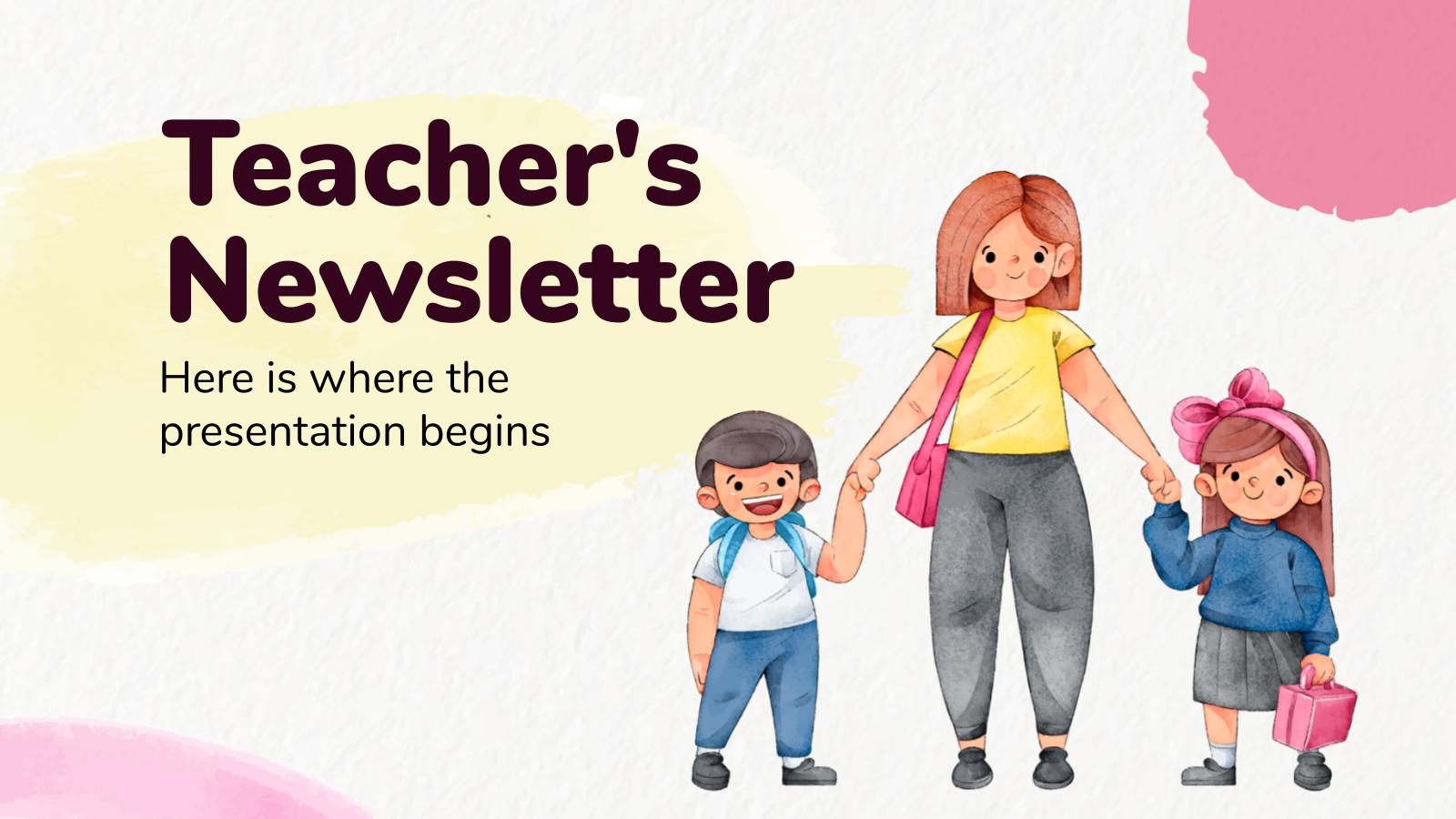 Plantilla de presentación Newsletter para docentes
