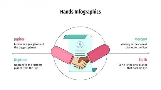 Modelo de apresentação Infográficos de mãos