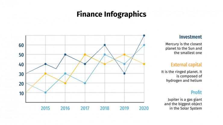 Modelo de apresentação Infográficos de finanças