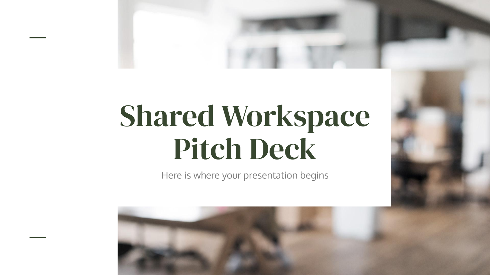 Shared Workspace Pitch Deck presentation template