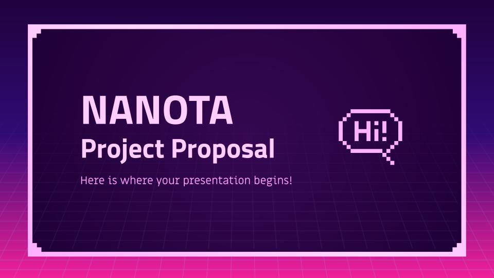 Proposition de projet Nanota : Modèles de présentation