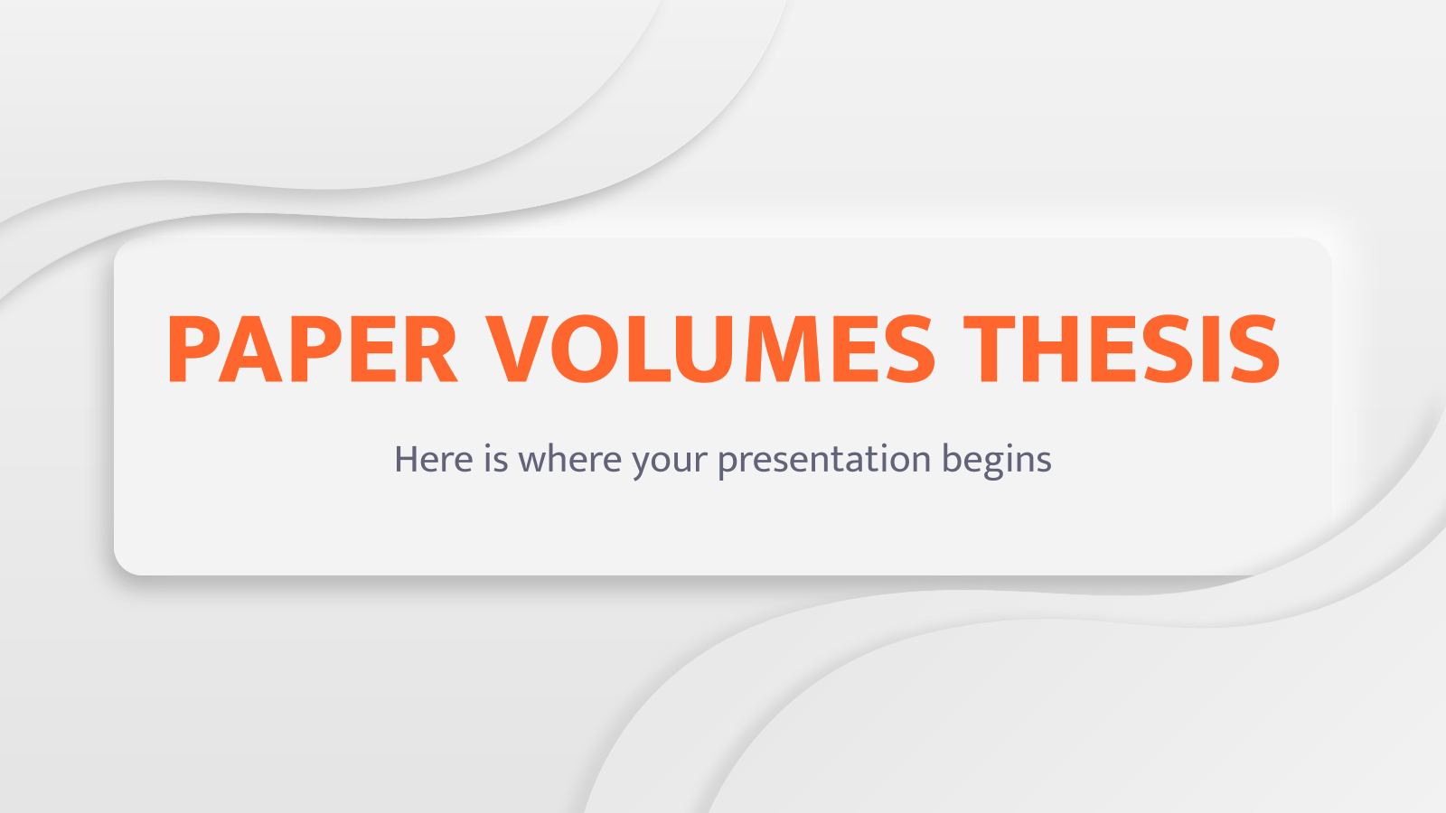 Paper Volumes Thesis presentation template