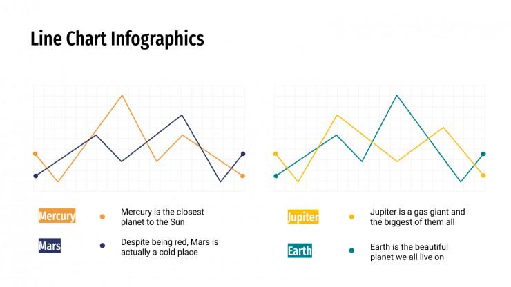 Modelo de apresentação Infográficos de gráficos de linhas