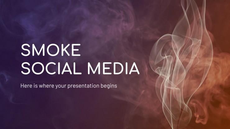 Modelo de apresentação Mídias sociais com fumaça