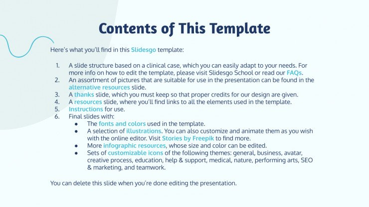 Minian Clinical Case presentation template