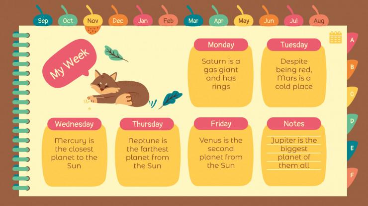 Plantilla de presentación Agenda con animales del bosque