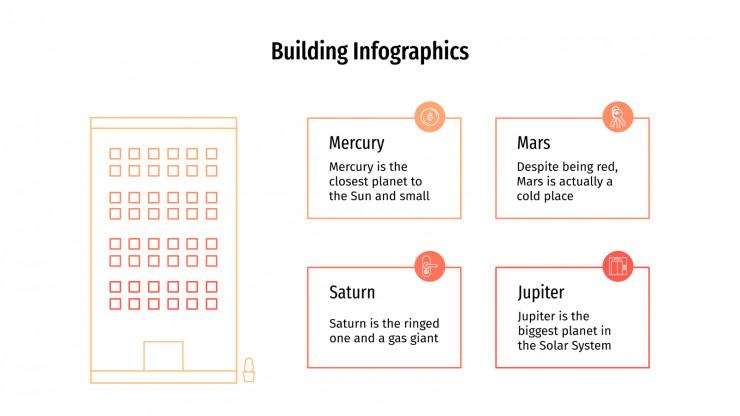 Modelo de apresentação Infográficos de prédios