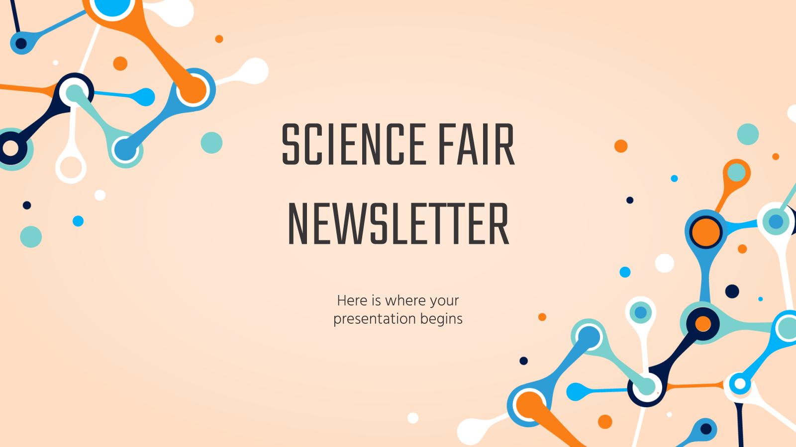 Modelo de apresentação Newsletter para feira de ciências
