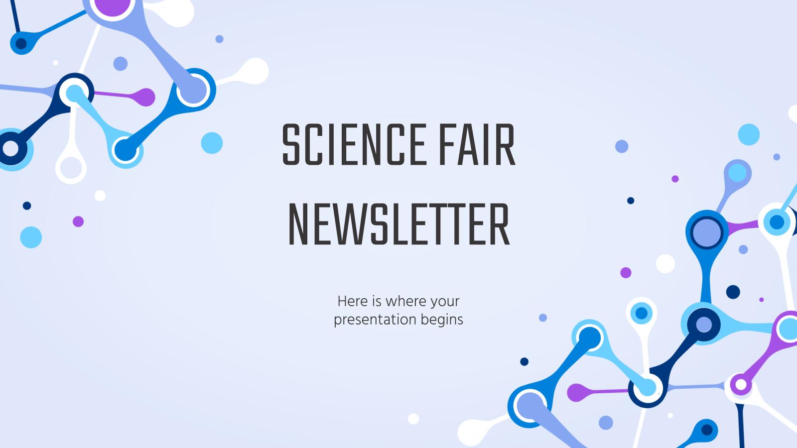 Plantilla de presentación Newsletter para una feria de ciencias