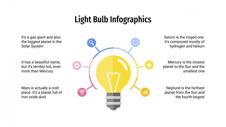 Modelo de apresentação Infográficos de lâmpadas