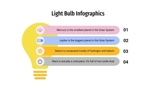 Infographies ampoules électriques : Modèles de présentation