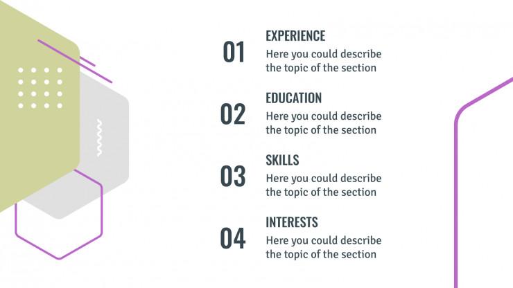 Modelo de apresentação Currículo hexagonal