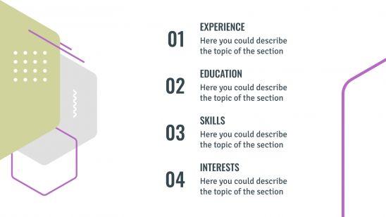 Plantilla de presentación CV hexagonal