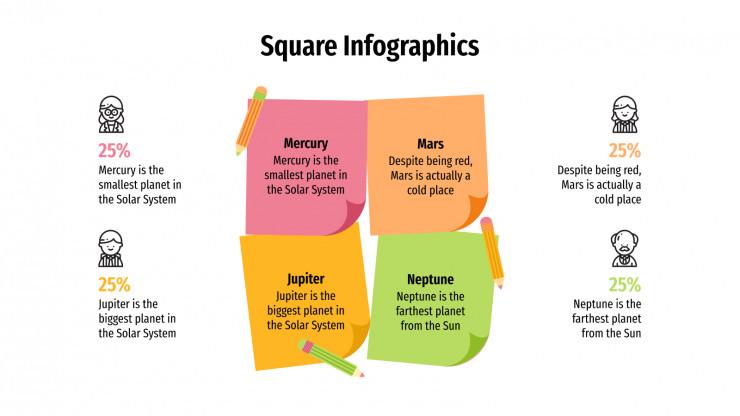 Plantilla de presentación Infografías con cuadrados