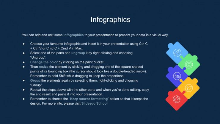 Modelo de apresentação Infográficos para visão geral do produto
