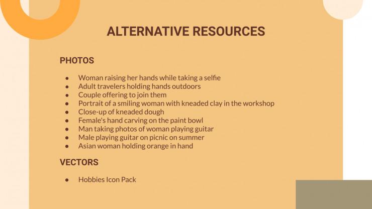Loisirs et activités : Modèles de présentation