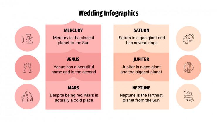 Modelo de apresentação Infográfico de casamento