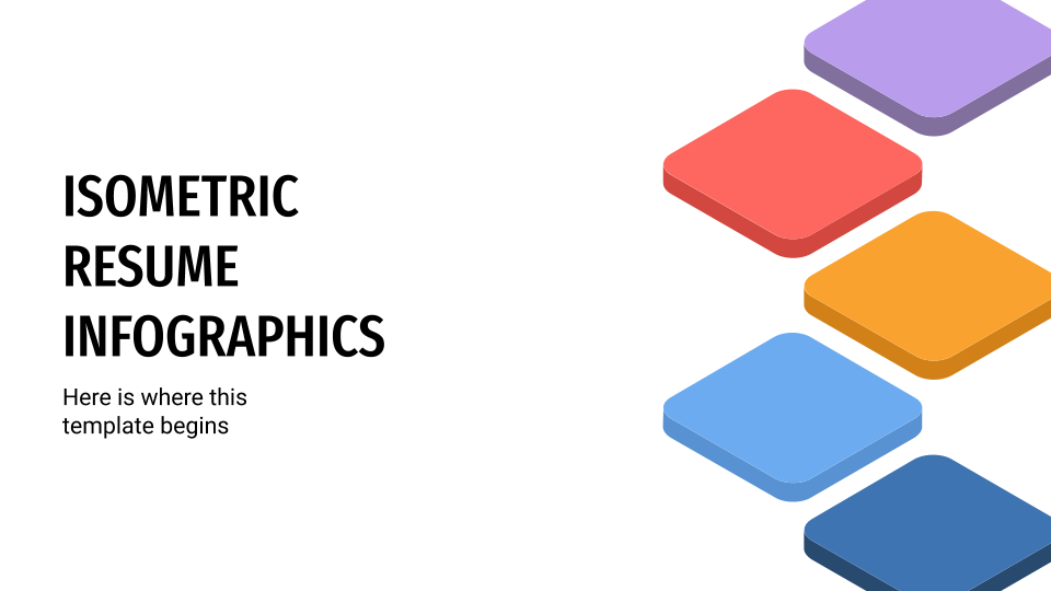 Isometric Resume Infographics presentation template