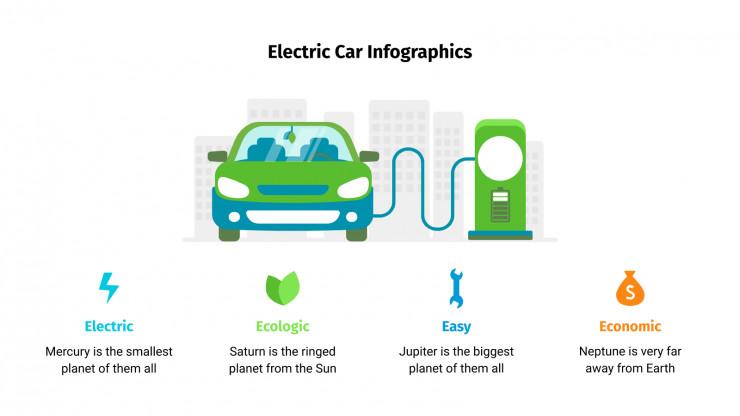 Modelo de apresentação Infográficos de carros elétricos