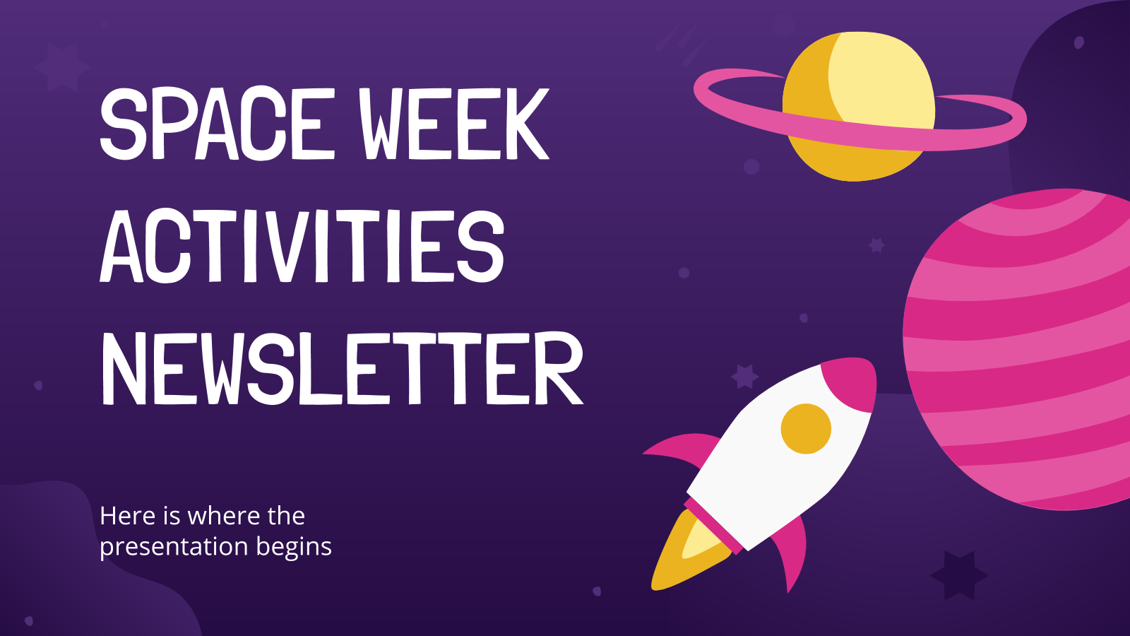 Space Week Activities Newsletter presentation template