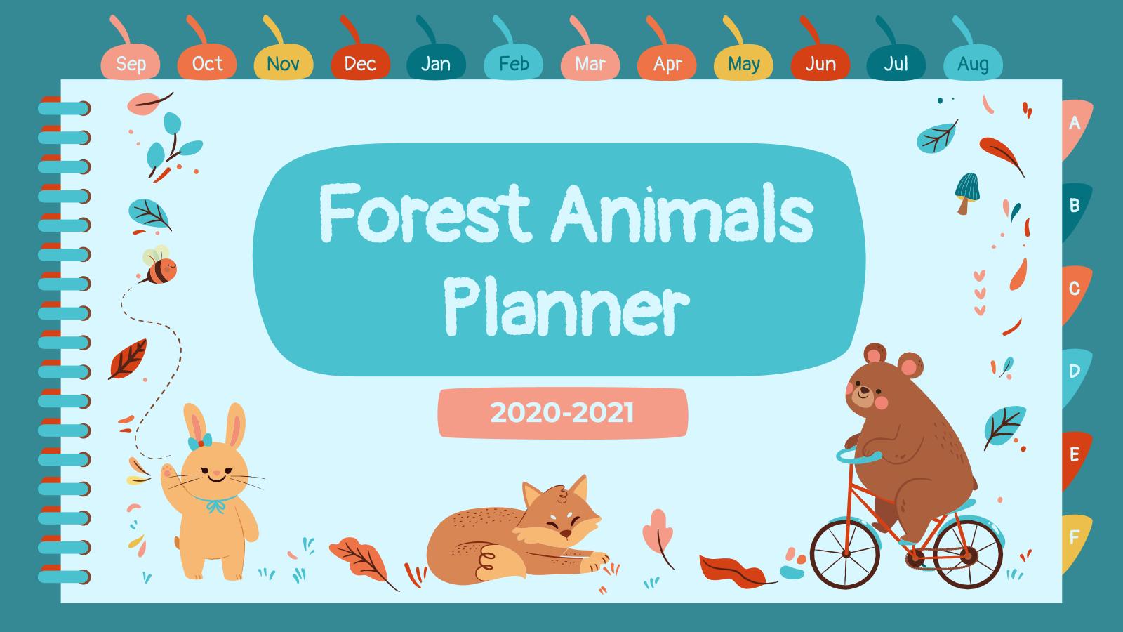 Modelo de apresentação Agenda de animais do bosque