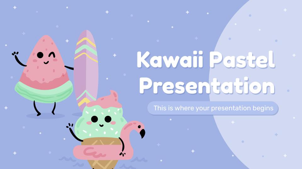Modelo de apresentação Kawaii em pastel