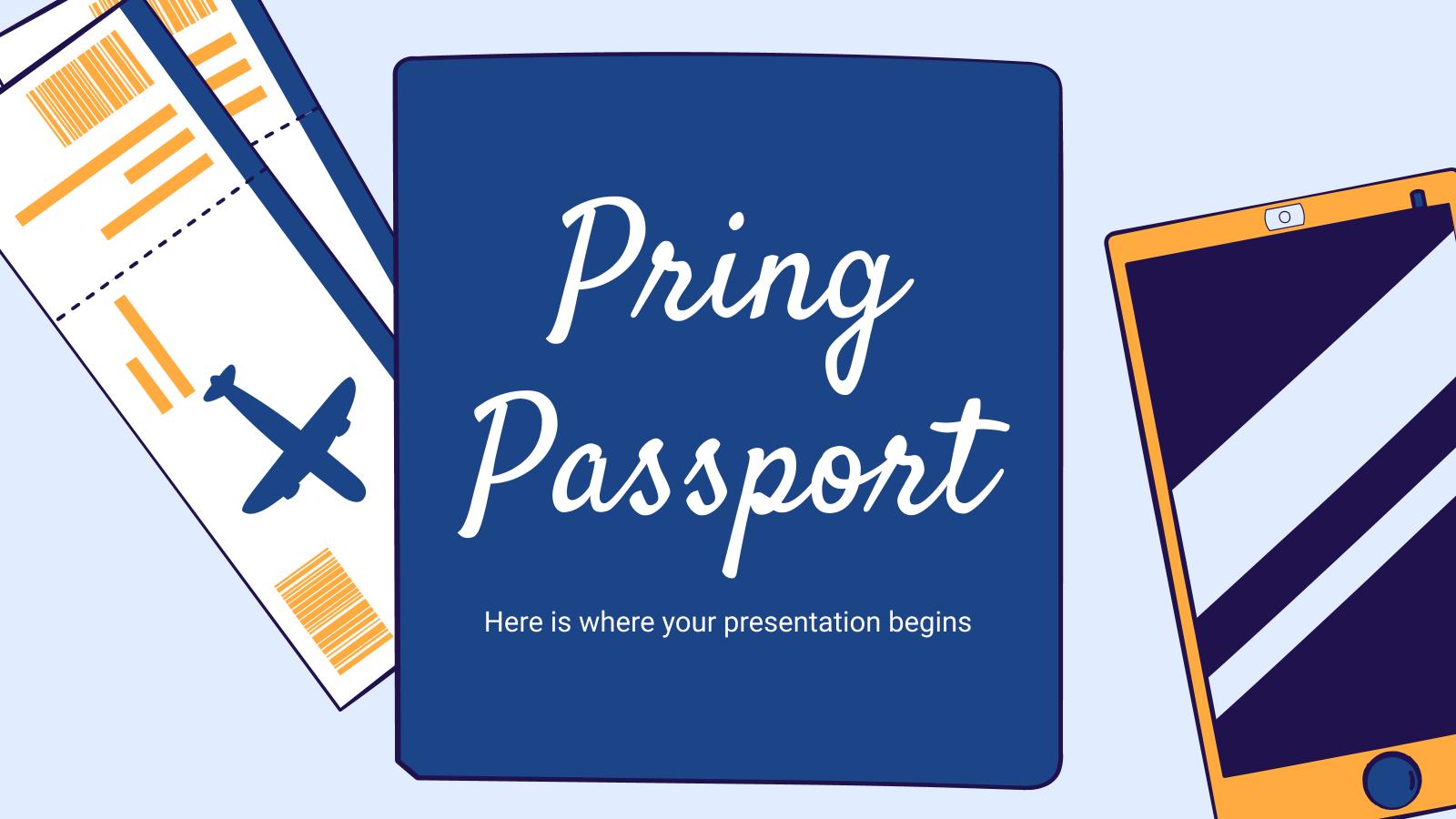 Passeport Pring : Modèles de présentation