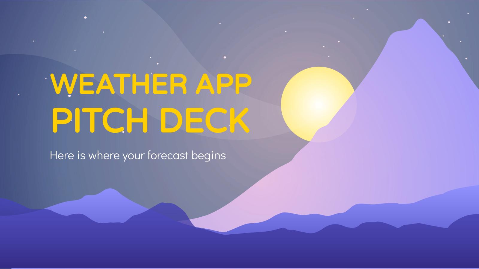 Plantilla de presentación Pitch deck para app del tiempo