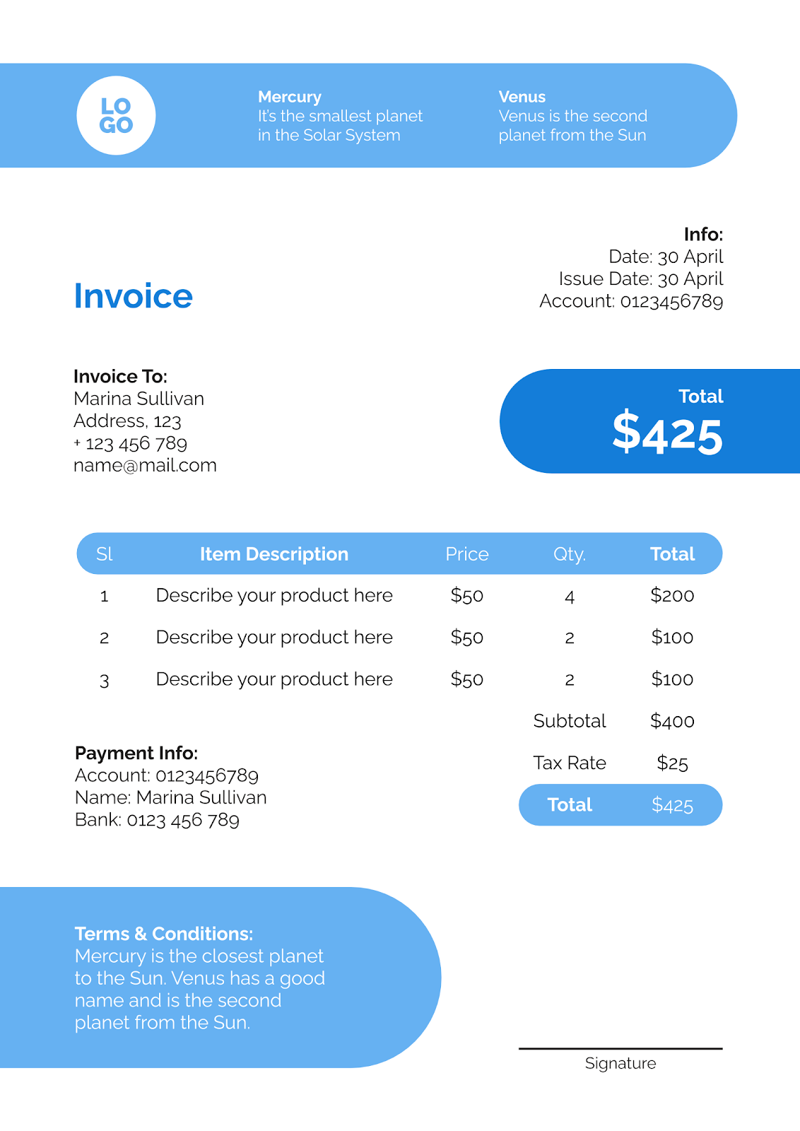 Simple Modern Invoices Google Slides Powerpoint Template