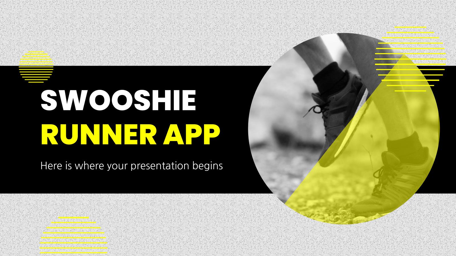 Modelo de apresentação App Swooshie para corredores