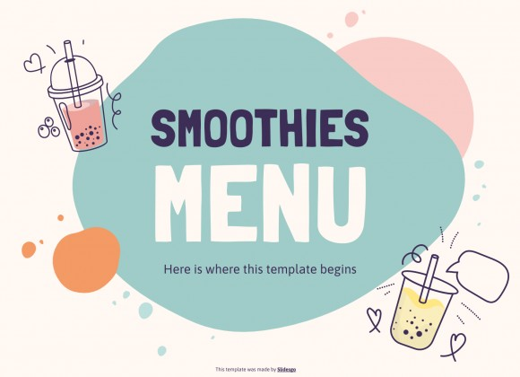 Smoothies menu presentation template