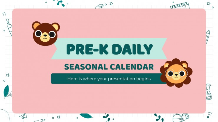 Plantilla de presentación Calendario y organizador para preescolar
