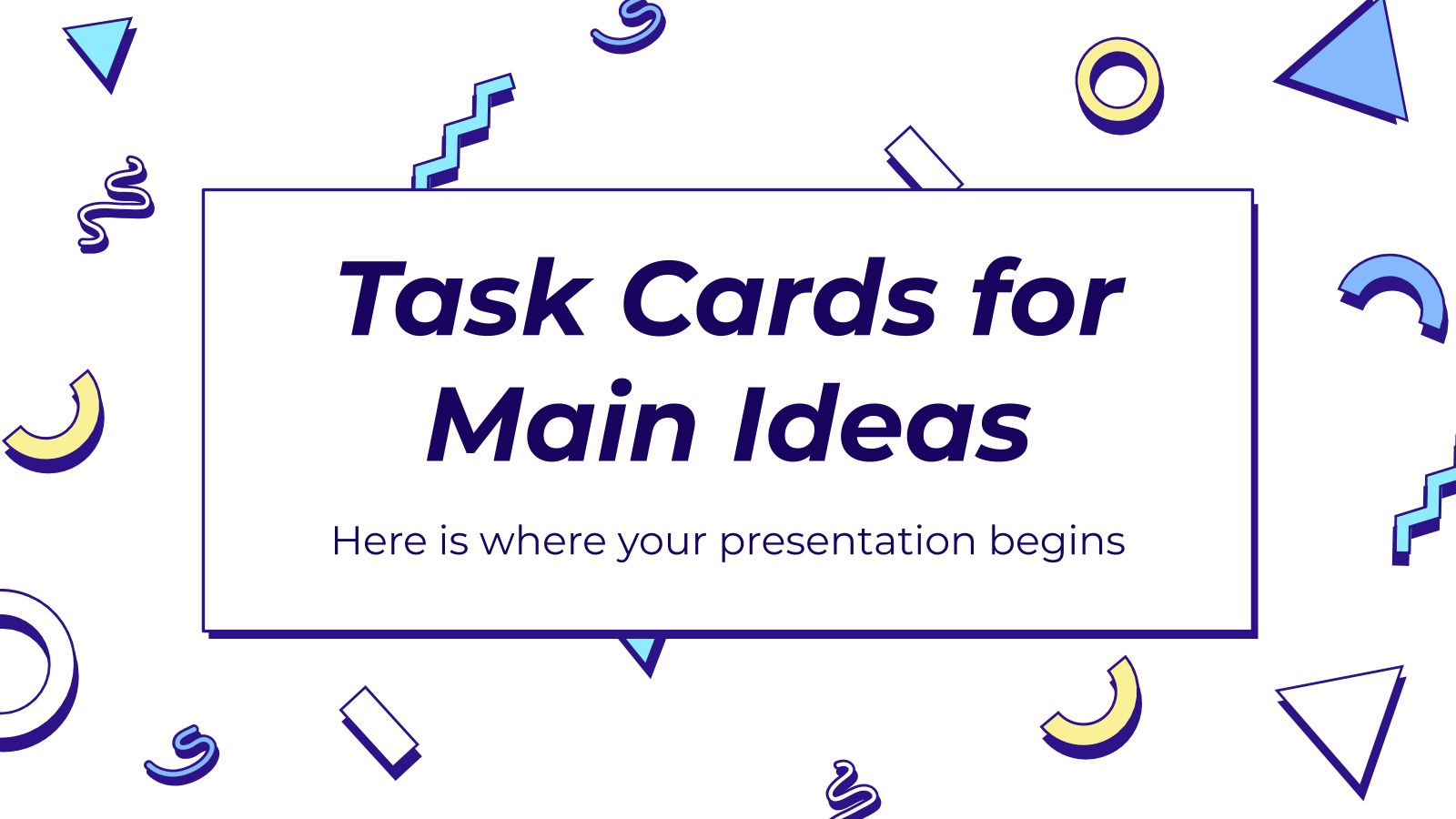 Task Cards for Main Ideas presentation template