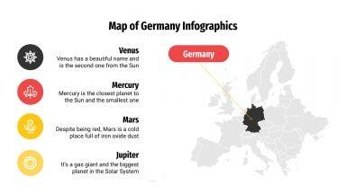 Modelo de apresentação Infográficos com mapas da Alemanha