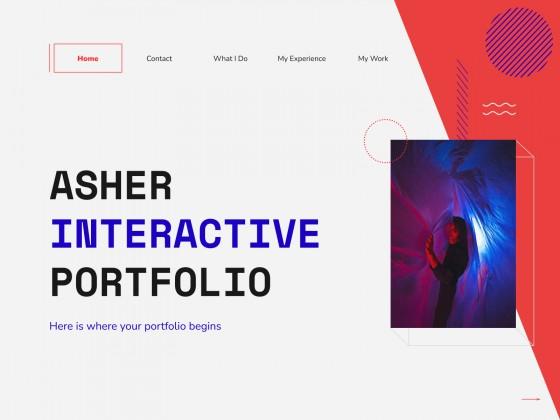 Modelo de apresentação Portfólio interativo Asher