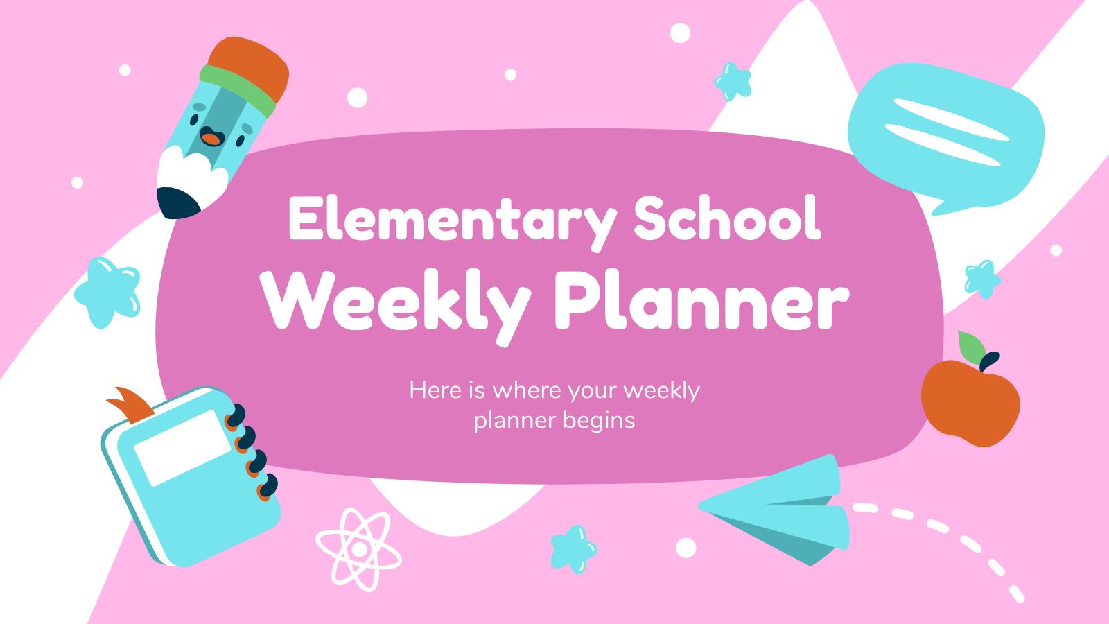Elementary School Weekly Planner presentation template