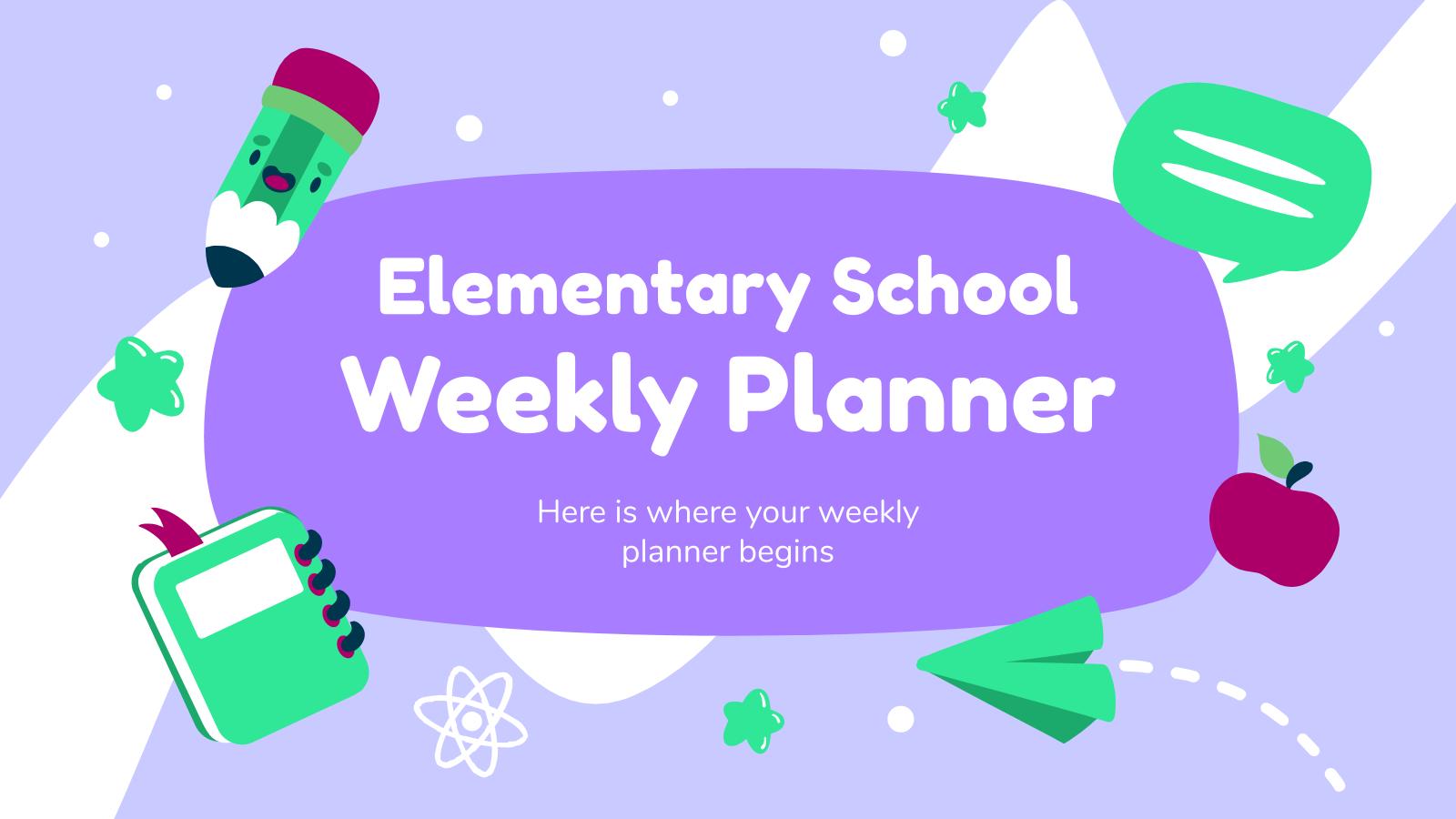 Plantilla de presentación Agenda semanal escolar