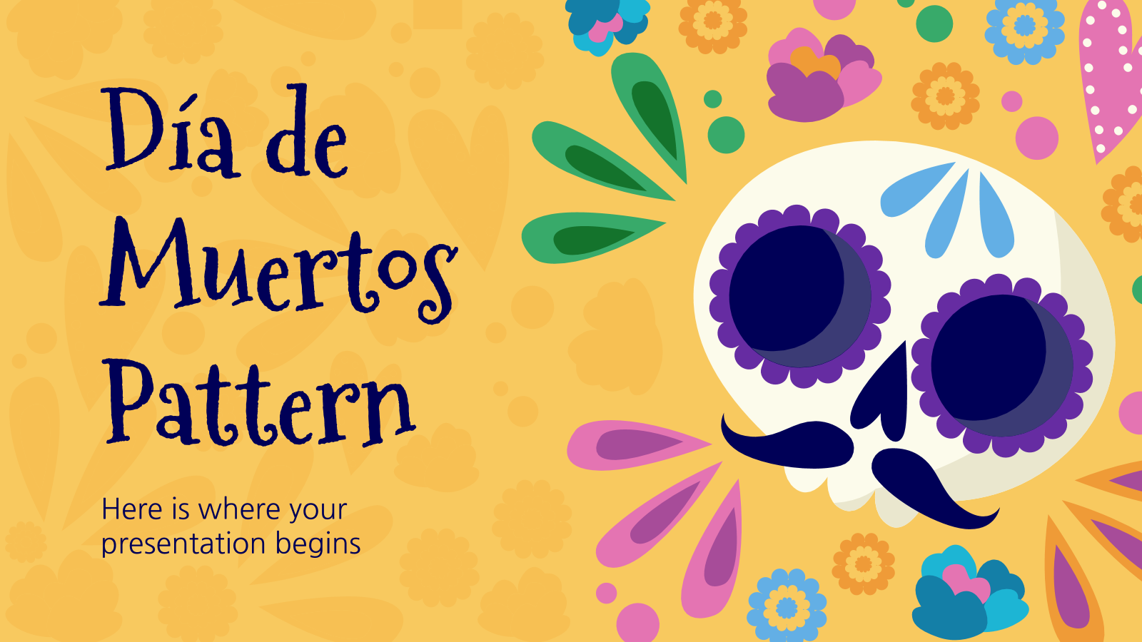 Día de Muertos Pattern presentation template