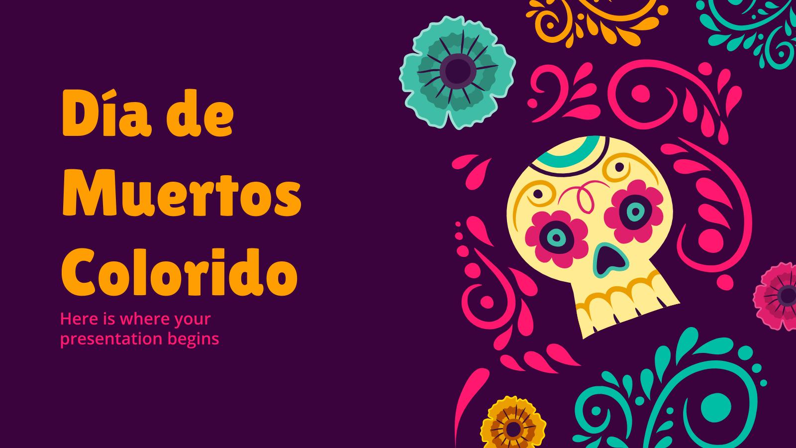 Plantilla de presentación Día de Muertos colorido