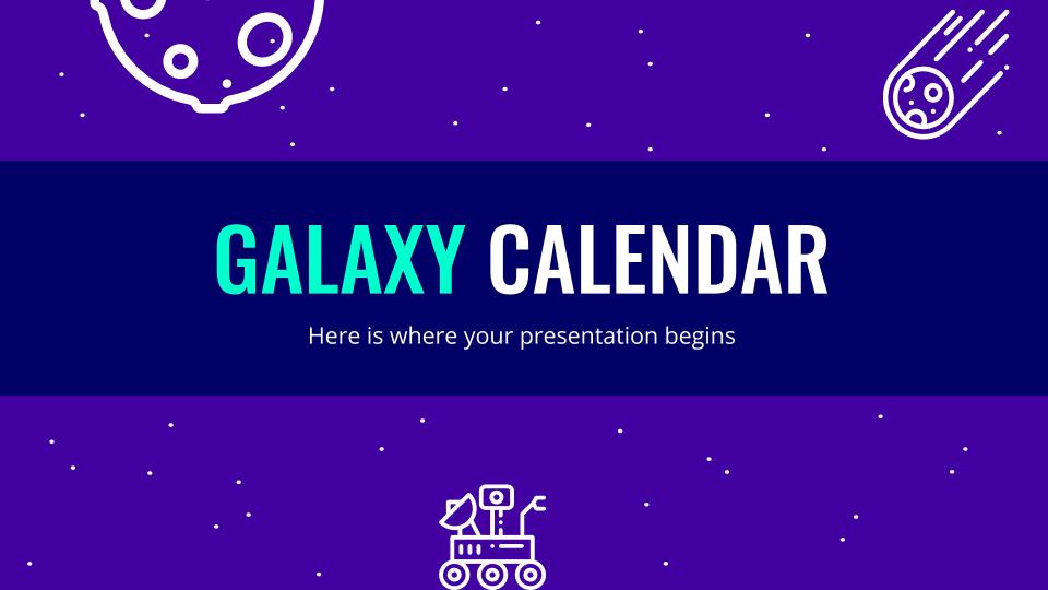 Modelo de apresentação Calendário da galáxia