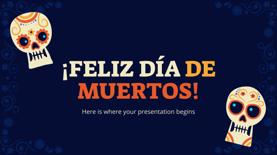 Modelo de apresentação ¡Feliz Día de Muertos!